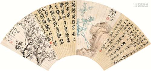 吴昌硕(1844~1927)  陆恢(1851~1920)等 1904年作 书画合璧 镜片 设色纸本