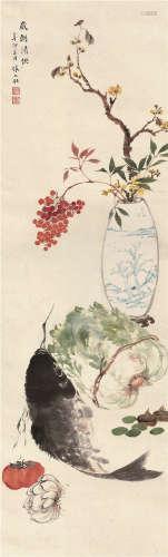 张大壮(1903~1980) 1951年作 岁朝清供 立轴 设色纸本