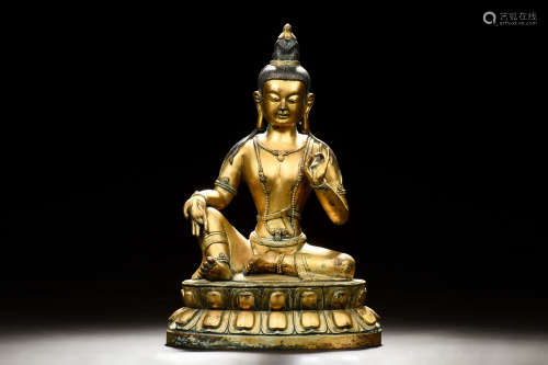 GILT BRONZE AVALOKITESVARA FIGURE