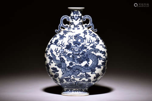 BLUE AND WHITE 'DRAGON' MOON FLASK