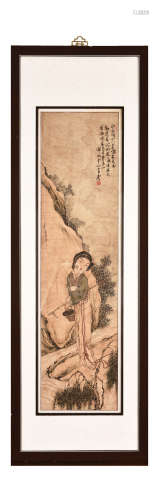 A FRAMED CHINESE 'LADY' PAINTING