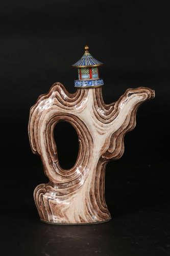 铜胎画珐琅仿山石形壶
