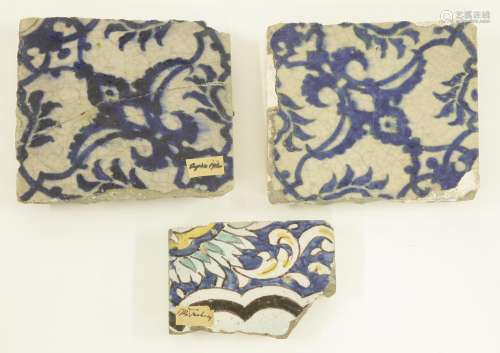 Three tiles,  probably 16th/17th century Turkish or Syrian, painted in blue, turquoise, green or ...