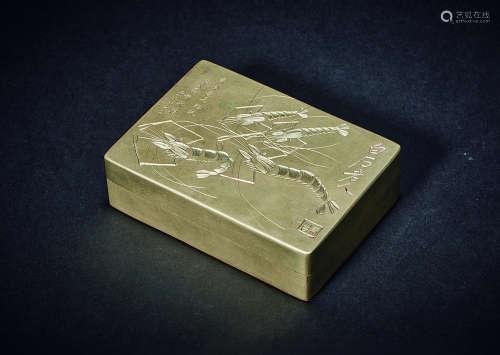 民国 白石老人铭铜墨盒