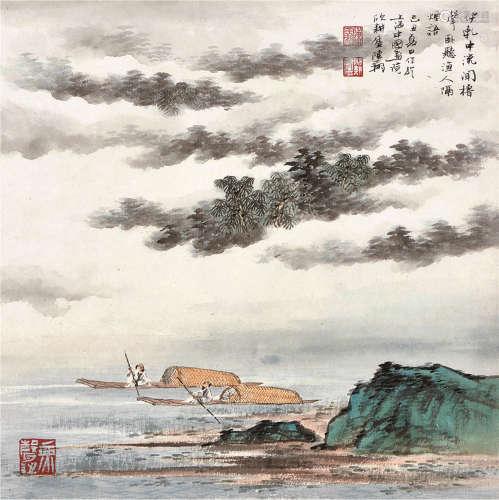 陈翔 青绿山水纸本镜框