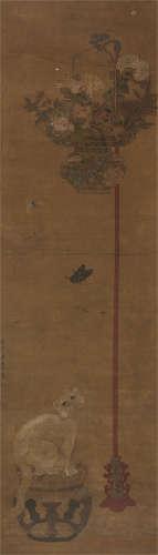 蒋廷锡 猫蝶图 立轴 绢本