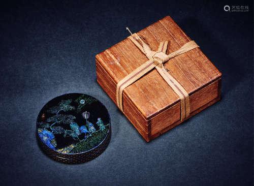 清 黑漆嵌锣钿月下高士香盒