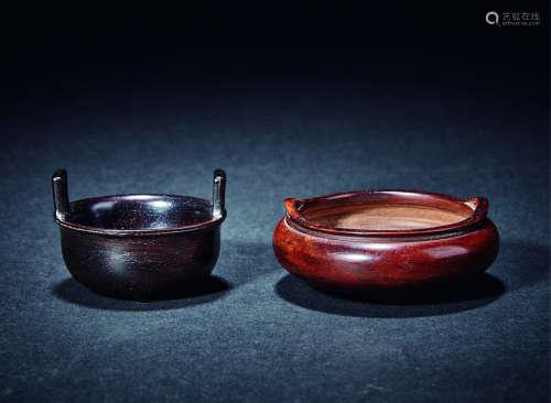 清 紫檀及金丝楠木香炉