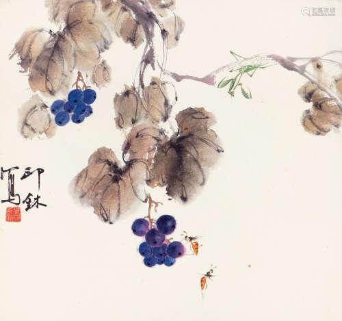 萧 朗(1917-2010) 秋趣 纸本设色 镜心