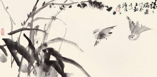 徐源绍(b.1944) 双雀图 纸本设色 镜心