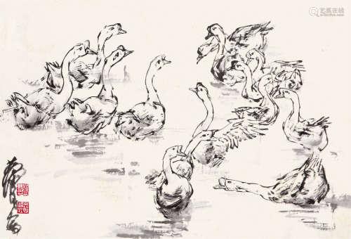黄 胄(1925-1997) 群鹅 纸本水墨 镜心
