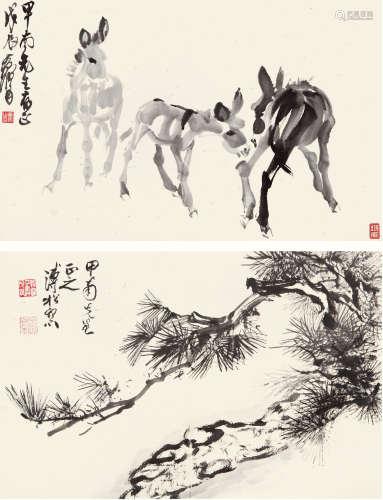黄 胄(1925-1997) 溥 佺(1913-1991) 册页二开 纸本水墨 册页