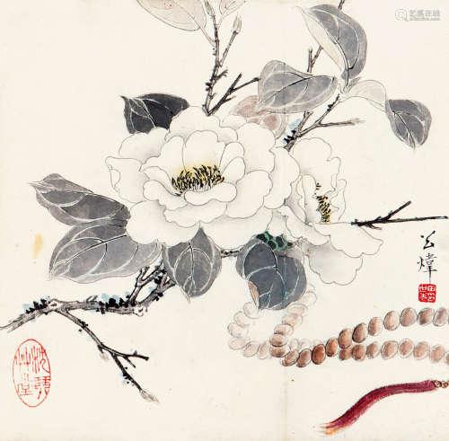 田世光(1916-1999) 山茶 纸本设色 立轴