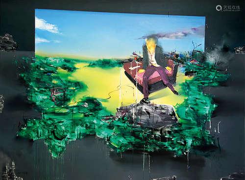 李昌龙(b.1975) 2009年作 就在前面 布面油画