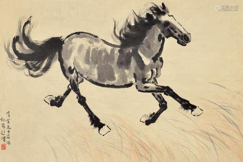 徐悲鸿(1895~1953) 奔马 镜芯 纸本