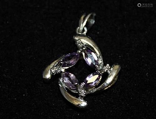 Exquisite Amethyst & Diamonds Silver Pendant (69P)