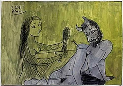 Oil Painting on Paper -  Pablo Picasso