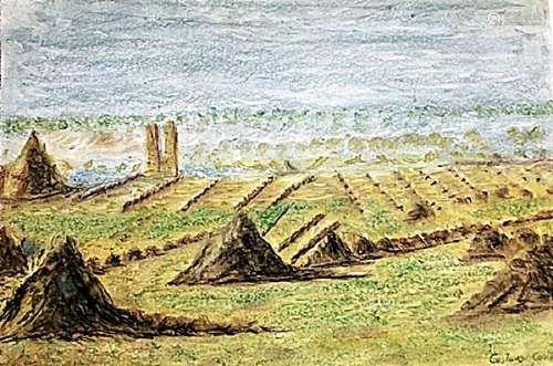 Vue De Cariot - Gustave Cariot - Pastel On Paper