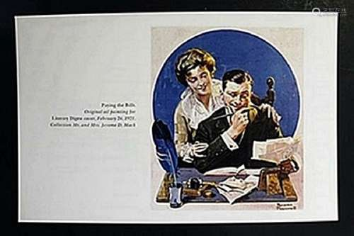 """Lithograph """"Paying the Bills""""  Norman Rockwell"""