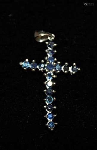 Lavish Cross Sapphires Silver Pendant (3P)