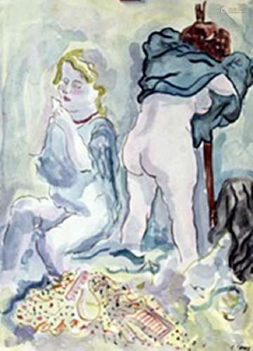 Two Women - George Grosz - Watercolor On Paper