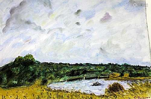 Banks Of The Oise - Camille Pissaro - Pastel On Paper