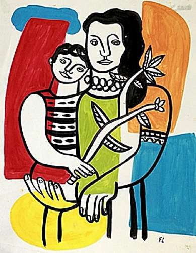 Mother And Child - Fernand Leger - Watercolor