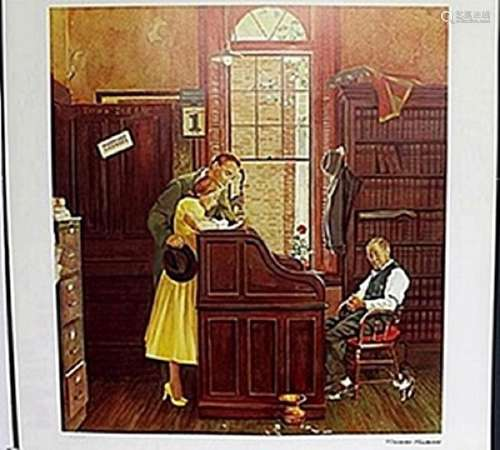 "Lithograph ""Marriage Contract""  Norman Rockwell"