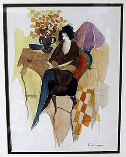 """SEATED WOMEN WITH A PURPLE LAMP"" by ITZCHAK TARKAY"