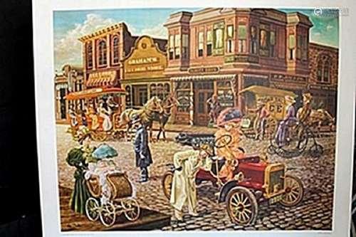 """""""Main Street"""" Lithograph; Lee Dubin"""