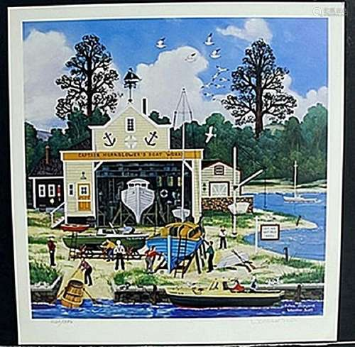 "Lithograph ""Salem Shipyard"" after Wooter Jane Scott"