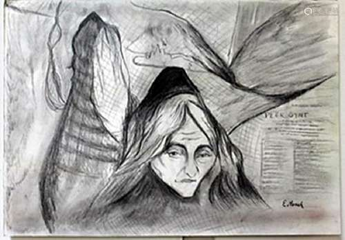Drawing on Paper -  Edvard Munch