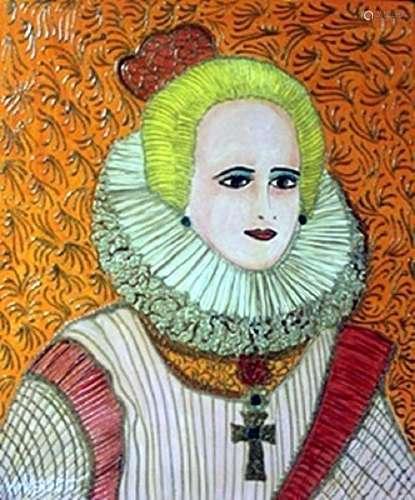 """Original Oil on Panel """"Maria Anna of Spain""""   William"""