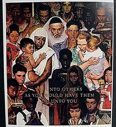 "Lithograph ""The Golden Rule""  Norman Rockwell"