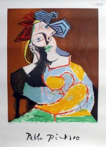 """Lithograph """"Femme Coudee Au Drapeau Bleu Et Rouge"""" By"""