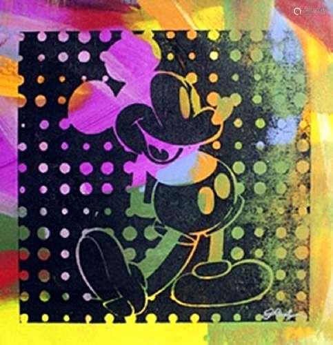 "Original Acrylic on Canvas ""Negative Mickey III"" By"