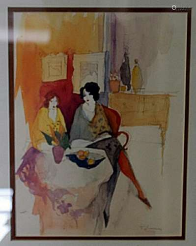 """TWO WOMEN IN AN INTERIOR"" by ITZCHAK TARKAY"