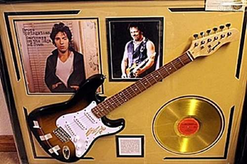 Bruce Springsteen Guitar with Gold Record and Album