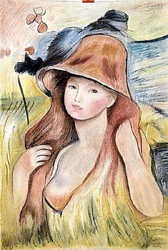 Portrait Of Marlene - Pierre Renoir - Pastel On Paper