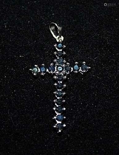 Beautiful Cross Sapphires Silver Pendant (28P)