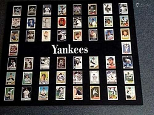 Beautifully Framed Red Yankees Baseball Card Collection