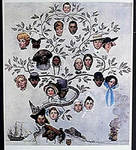 """Lithograph """"A Family Tree""""  Norman Rockwell"""