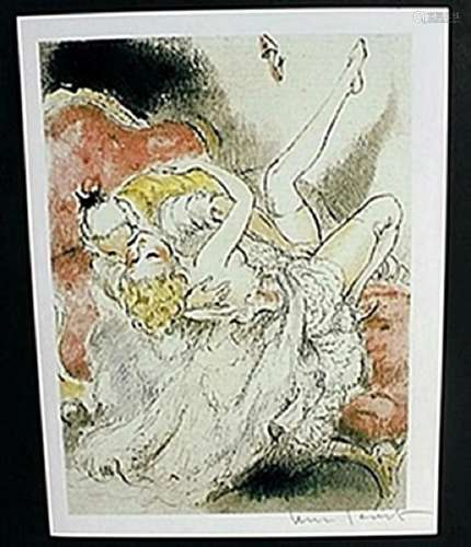 """Lithograph """"Over Backwards""""  Louis Icart"""