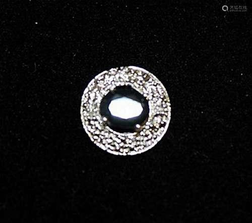Stunning Sapphire & Diamonds Silver Pendant (40P)