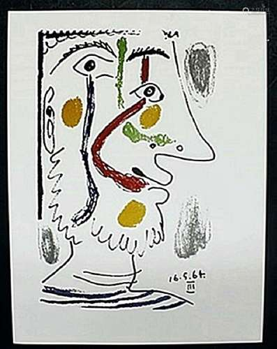 """Lithograph """"16.5.64"""" after Pablo Picasso"""