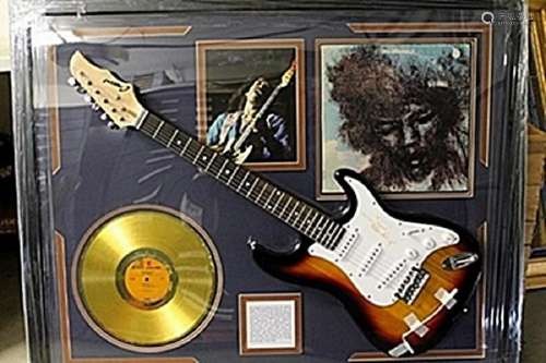Jimi Hendrix Signed Guitar with Bio, Photo and Gold