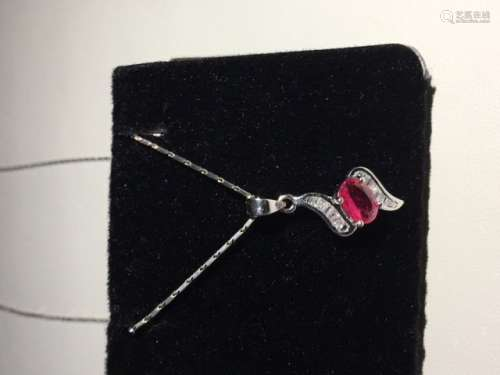 18k White Gold Ruby Pendant Made In Italy