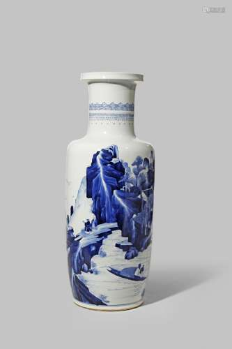 A FINE CHINESE BLUE AND WHITE ROULEAU VASE KANGXI 1662-1722 Brightly painted in underglaze cobalt