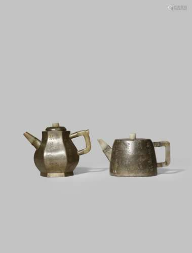 TWO CHINESE INSCRIBED PEWTER-ENCASED YIXING TEAPOTS AND COVERS QING DYNASTY Each set with a jade