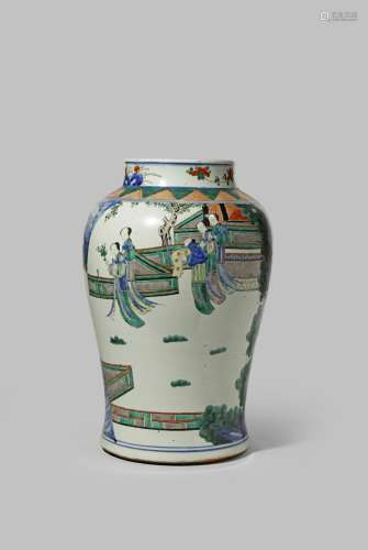 A CHINESE WUCAI BALUSTER VASE 17TH CENTURY OR LATER Brightly painted with figures on terraces and in